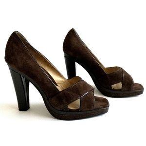 Michael Kors chocolate brown suede high heels 7M
